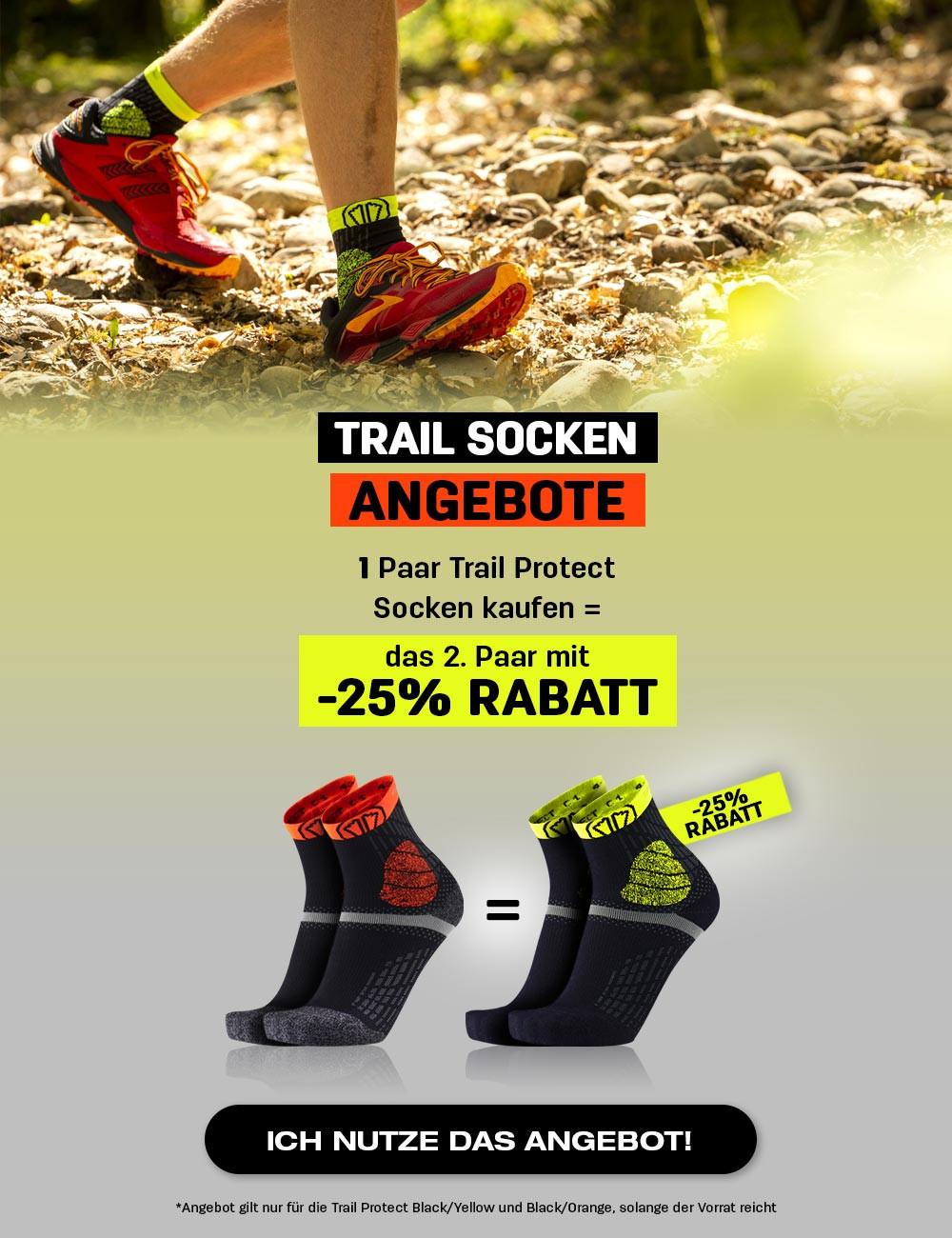 Kaufen Sie 1 Paar gelbe oder orangefarbene Trail Protect-Socken und erhalten Sie 25 % Rabatt auf das zweite Paar
