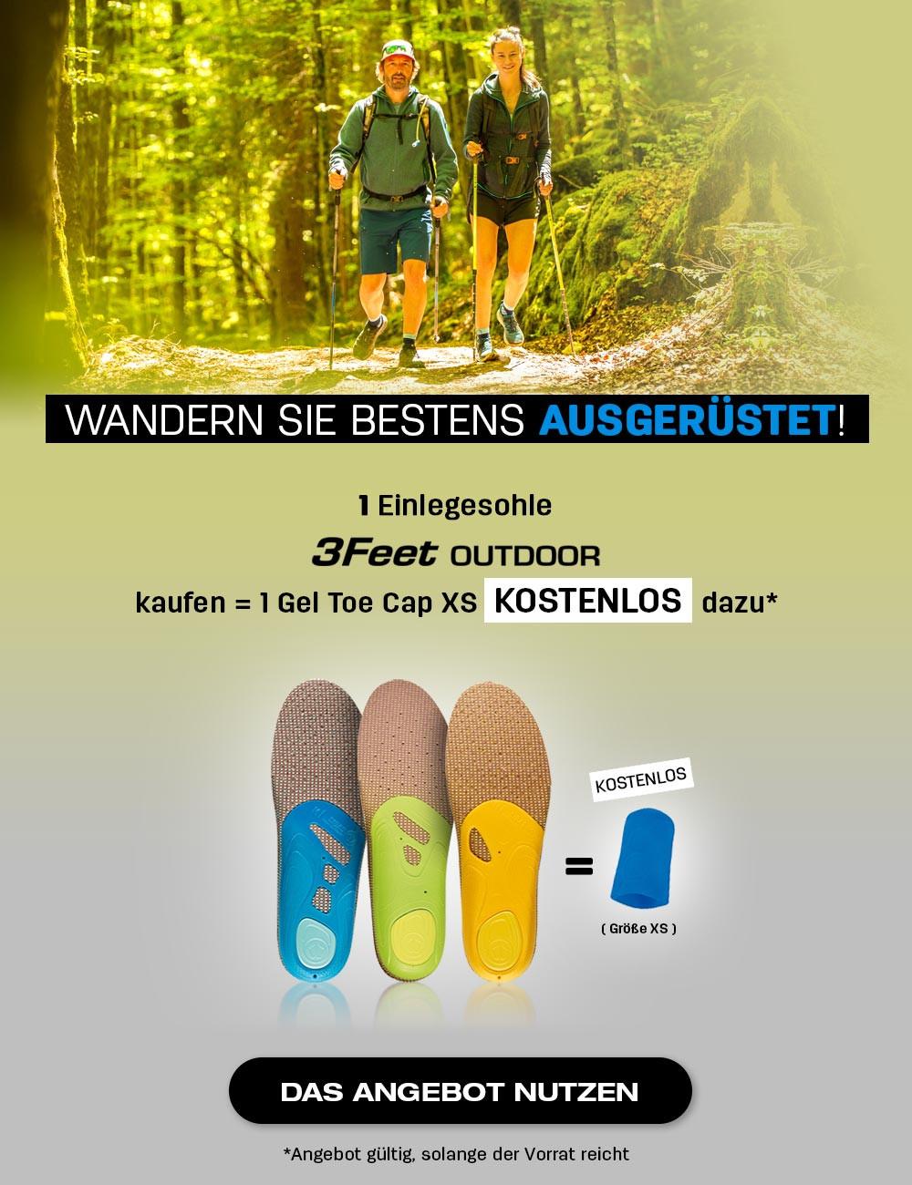 Holen Sie sich Ihre kostenlose Gel-Zehenkappe XS, wenn Sie ein Paar 3 Feet Outdoor kaufen