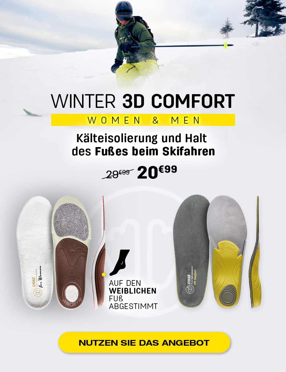 Kälteisolierung und Halt des Fußes beim Skifahren