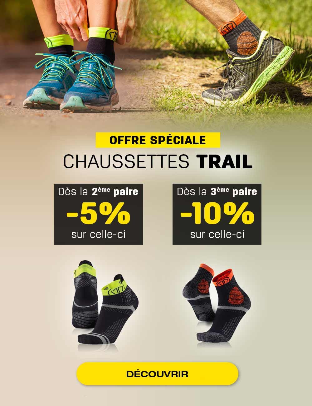Achetez les chaussettes Trail Protect en pack et bénéficiez de 5% sur la 2ème paire et de 10% supplémentaire sur la 3ème