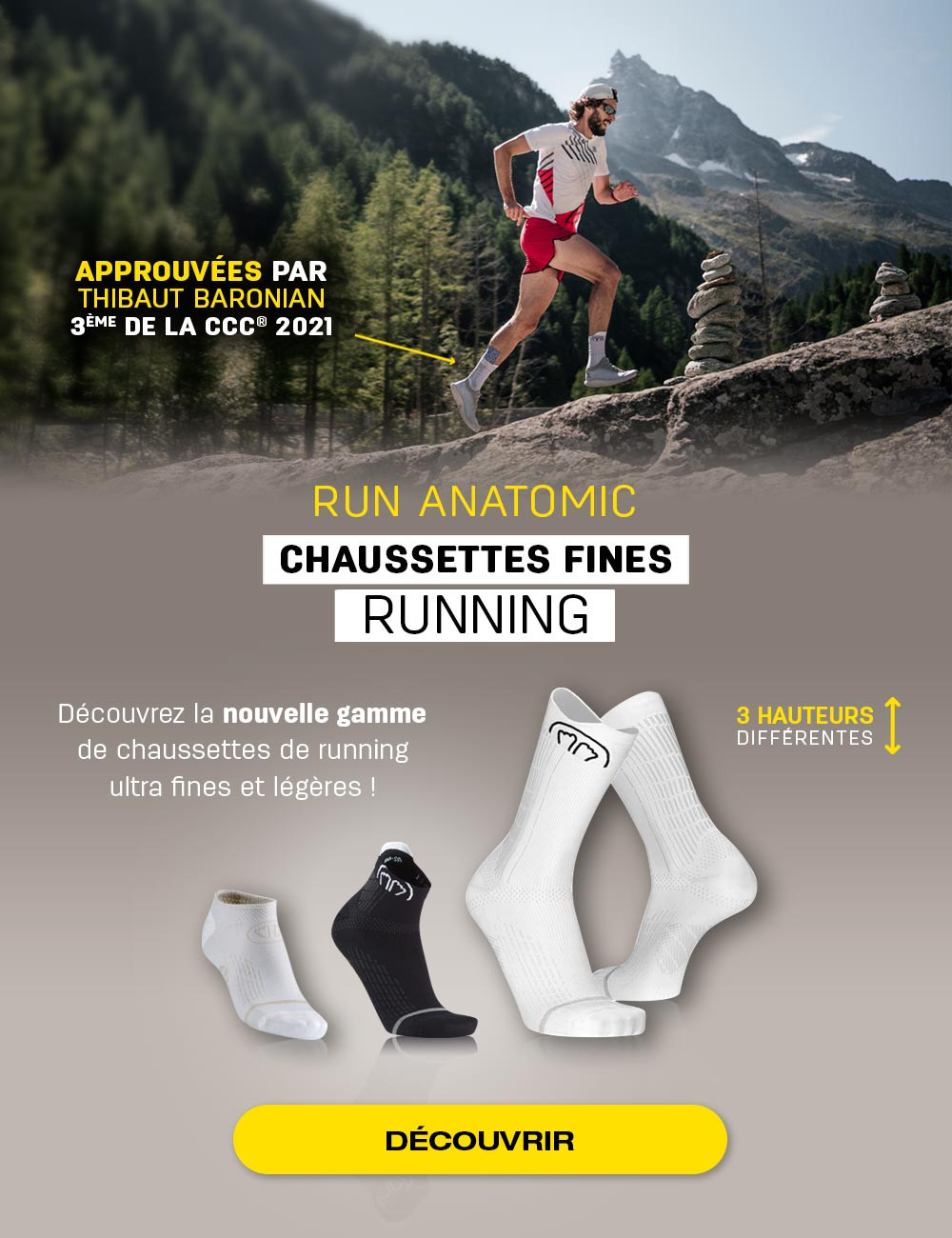 Découvrez les nouvelles chaussettes Run Anatomic, approuvées par Thibaut Baronian !