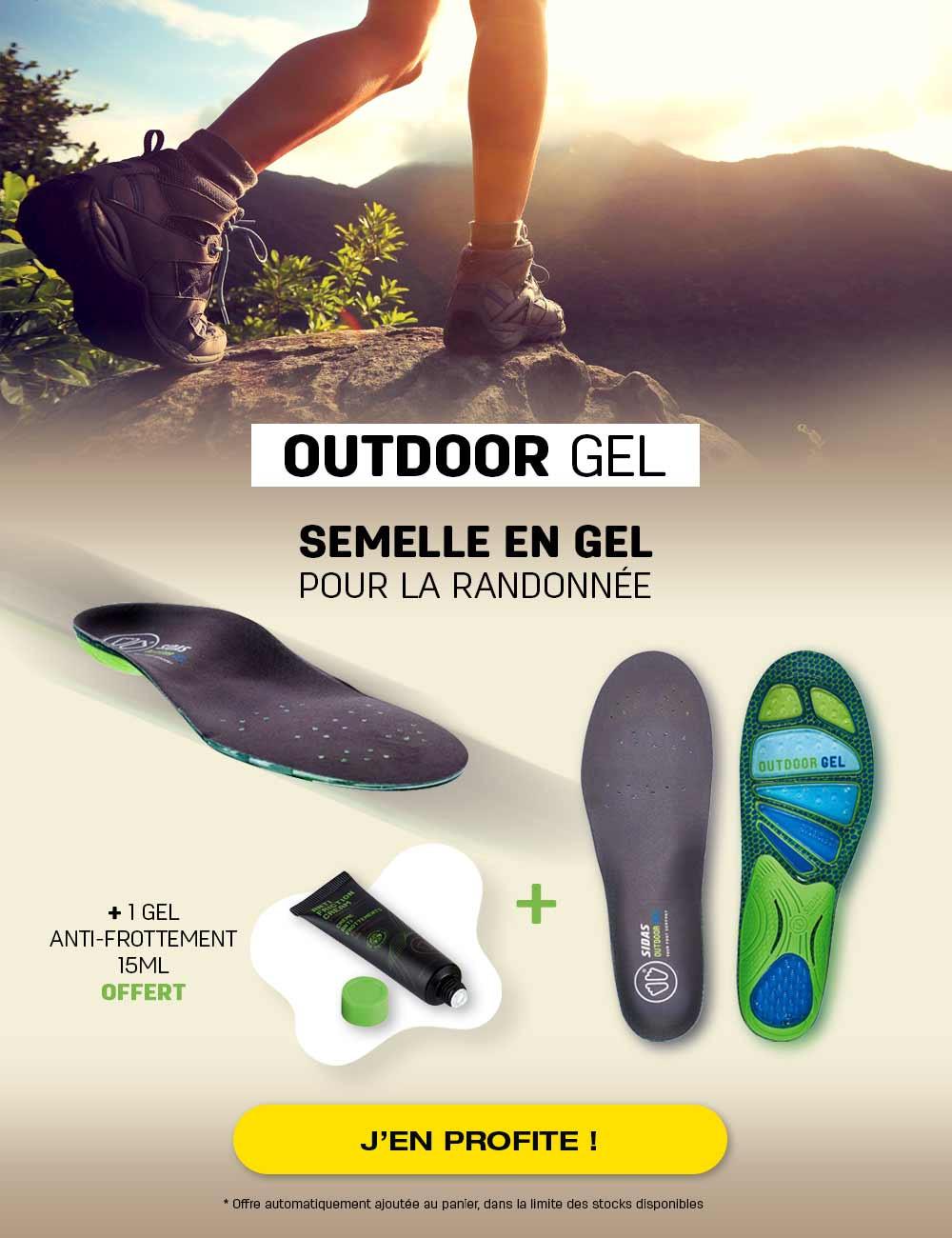 Un tube de gel anti-frottement offert pour l'achat d'une paire de semelles gel pour la randonnée!
