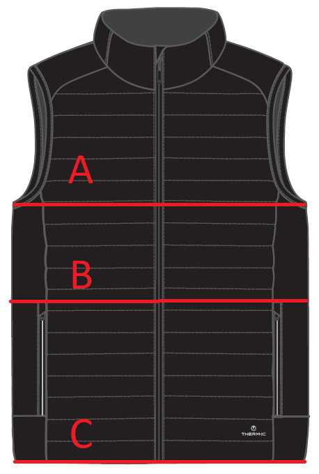 Sizing chart heated vest