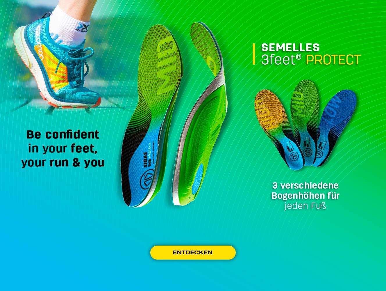 Entdecken Sie unsere neue Protect-Laufsohle, die an Ihren Fußtyp angepasst ist
