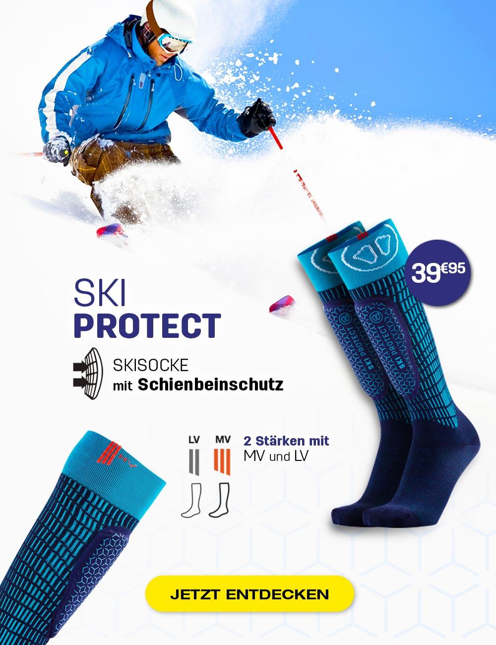 Mit unseren Ski Protect Socken schmerzen Sie beim Skifahren nicht mehr