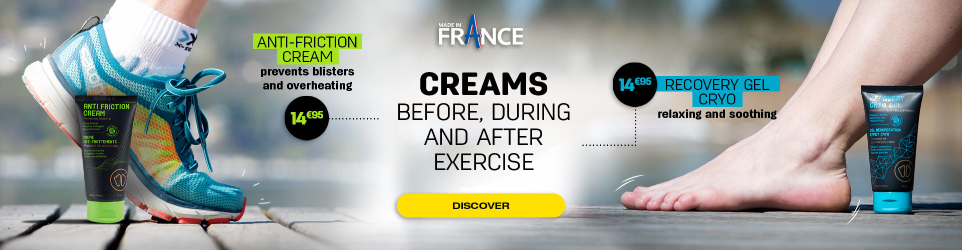 Creams before, during and after exercise