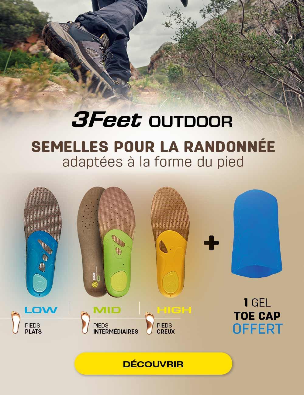 Découvrez nos semelles 3Feet Outdoor! Recevez gratuitement votre Gel Toe Cap pour l'achat d'une paire.