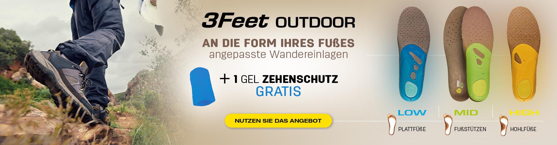 3Feet Outdoor an die form ihres fuβes angepasste Wandereinlagen + 1 gel zehenschutz gratis!
