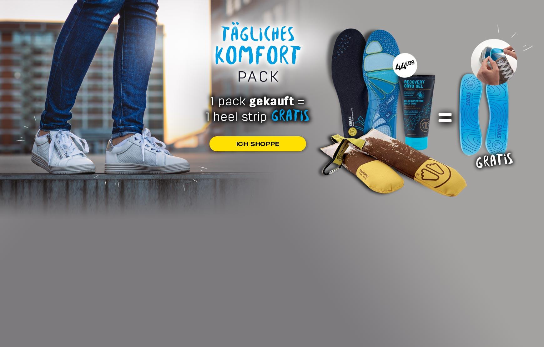 Entdecken Sie unser tägliches Komfortpaket, das jeden Tag für den Komfort Ihrer Füße sorgt!