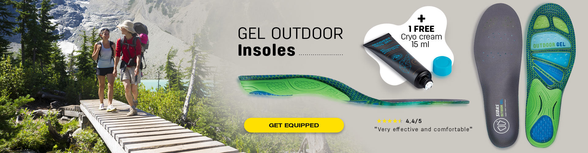 Gel insoles for hiking, and get your free gel cryo cream when you purchase one pair of insoles.