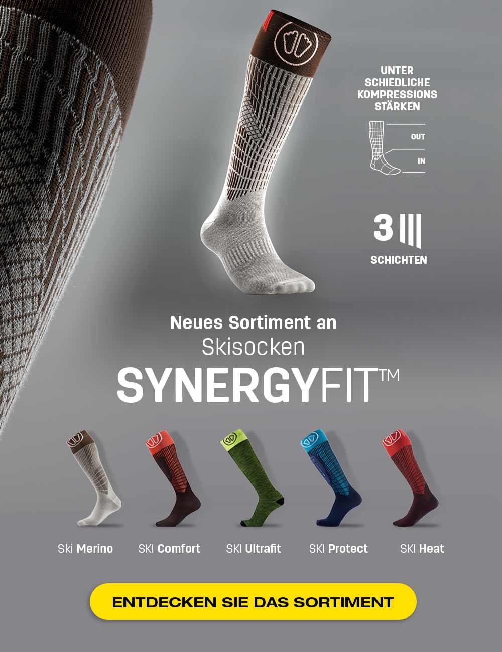 Entdecken Sie unsere neuen SynergyFit Skisocken, angepasst an Ihre Bedürfnisse!