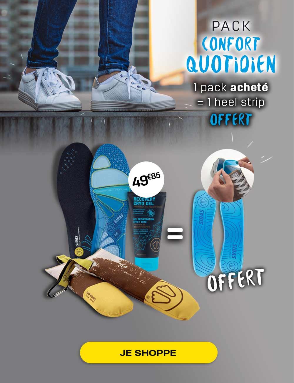Découvrez notre pack confort quotidien, l'idéal pour le confort de vos pieds tous les jours !