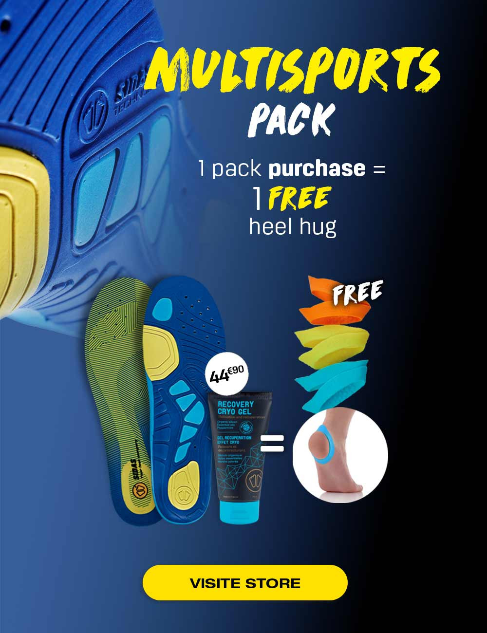 Enjoy our multi-sports pack and receive as a gift your Heel Hug!