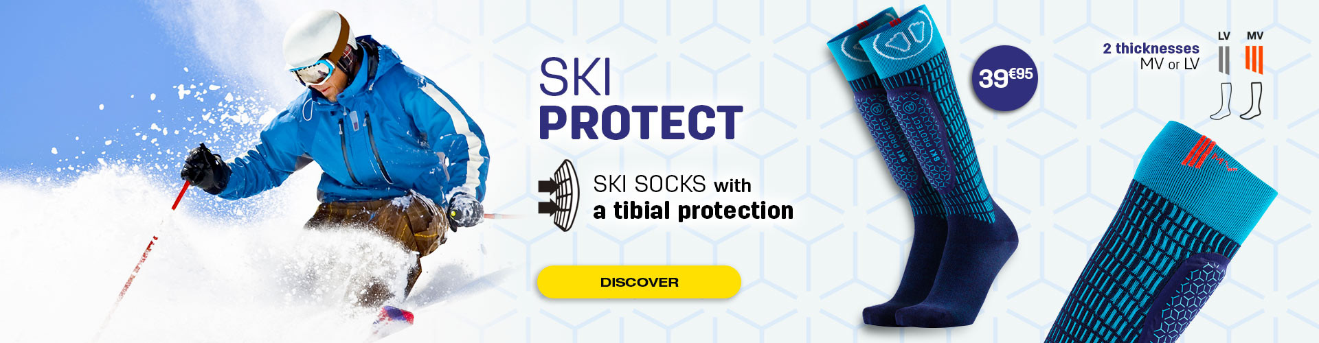 No more shin pains during ski sessions with our Ski Protect socks