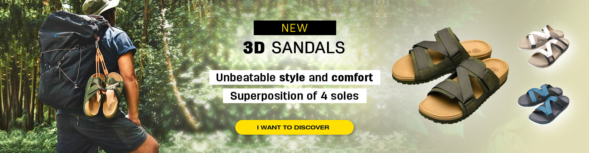 Sandals with 4-layer sole construction providing great comfort and unbeatable style