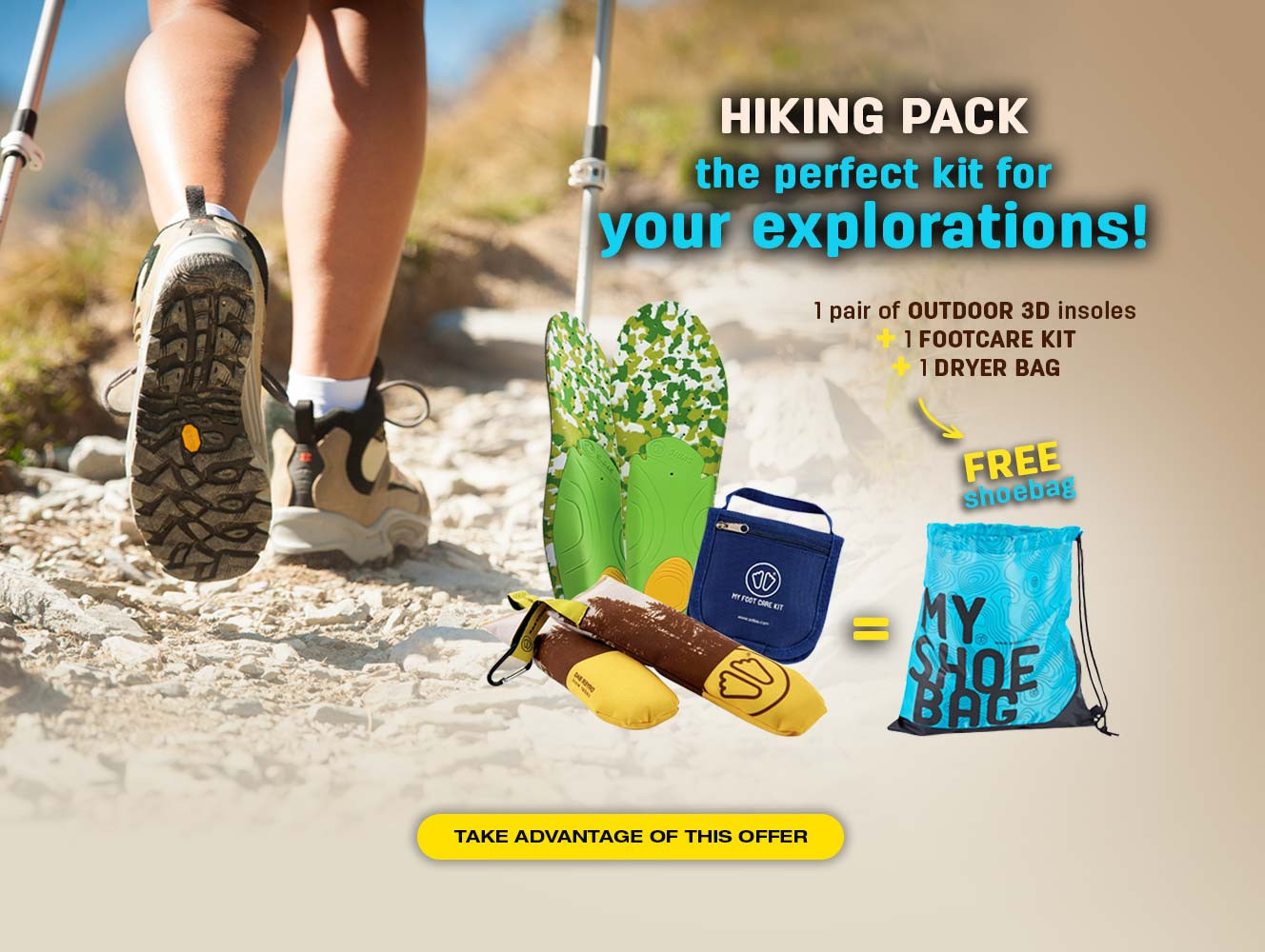 For the purchase of a hiking pack, we offer you your shoebag!