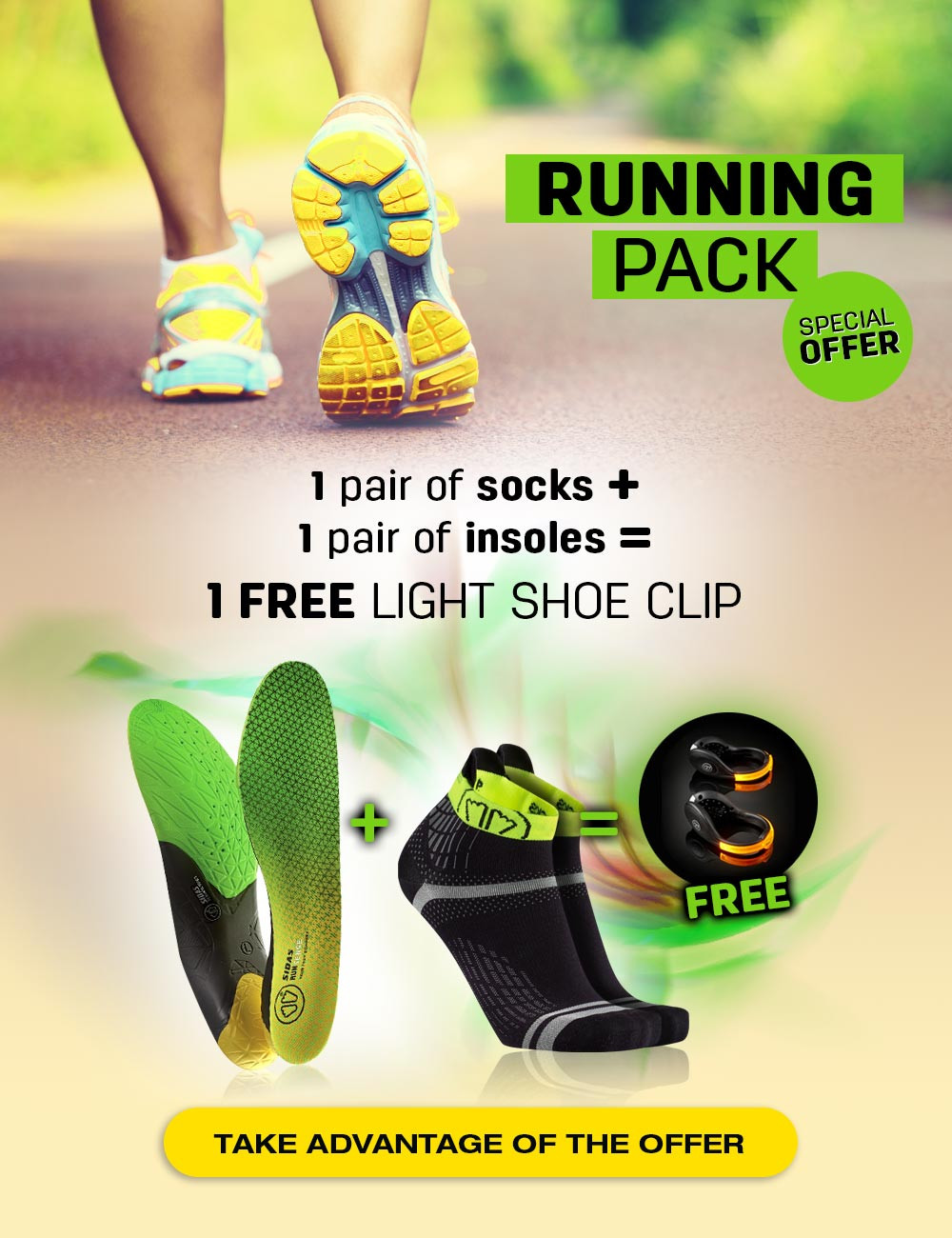 Special offer : 1 pair of running sock + 1 pair of running insoles = your FREE light shoe clip!