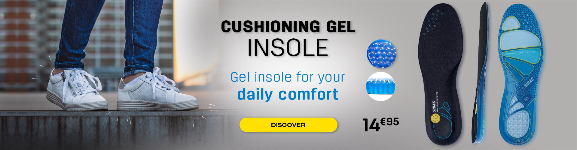 Increase your daily comfort with our Cushioning gel insoles!