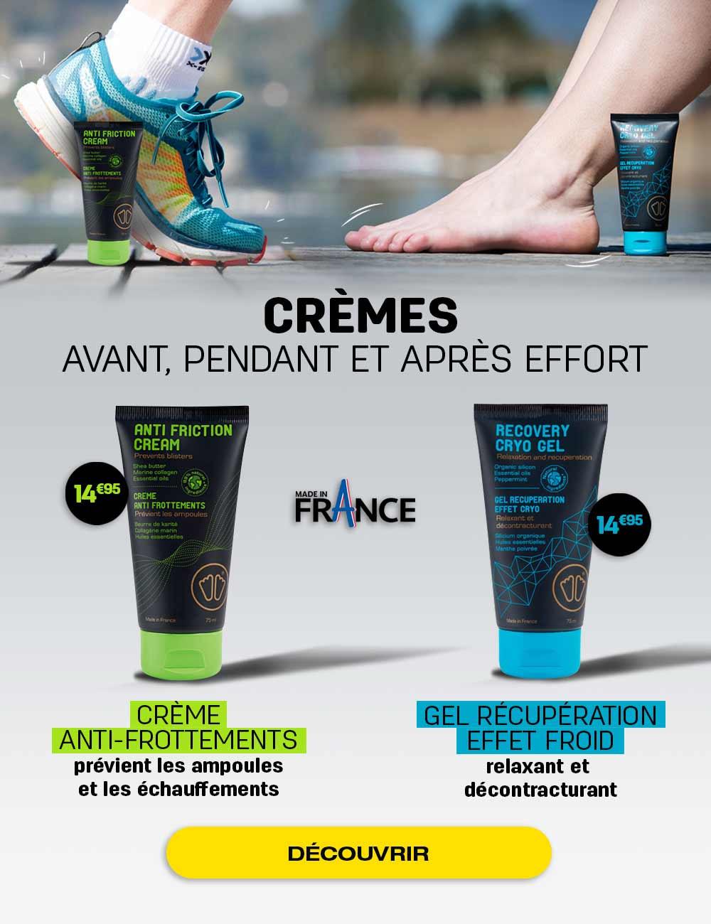 Crèmes avant, pendant et après effort
