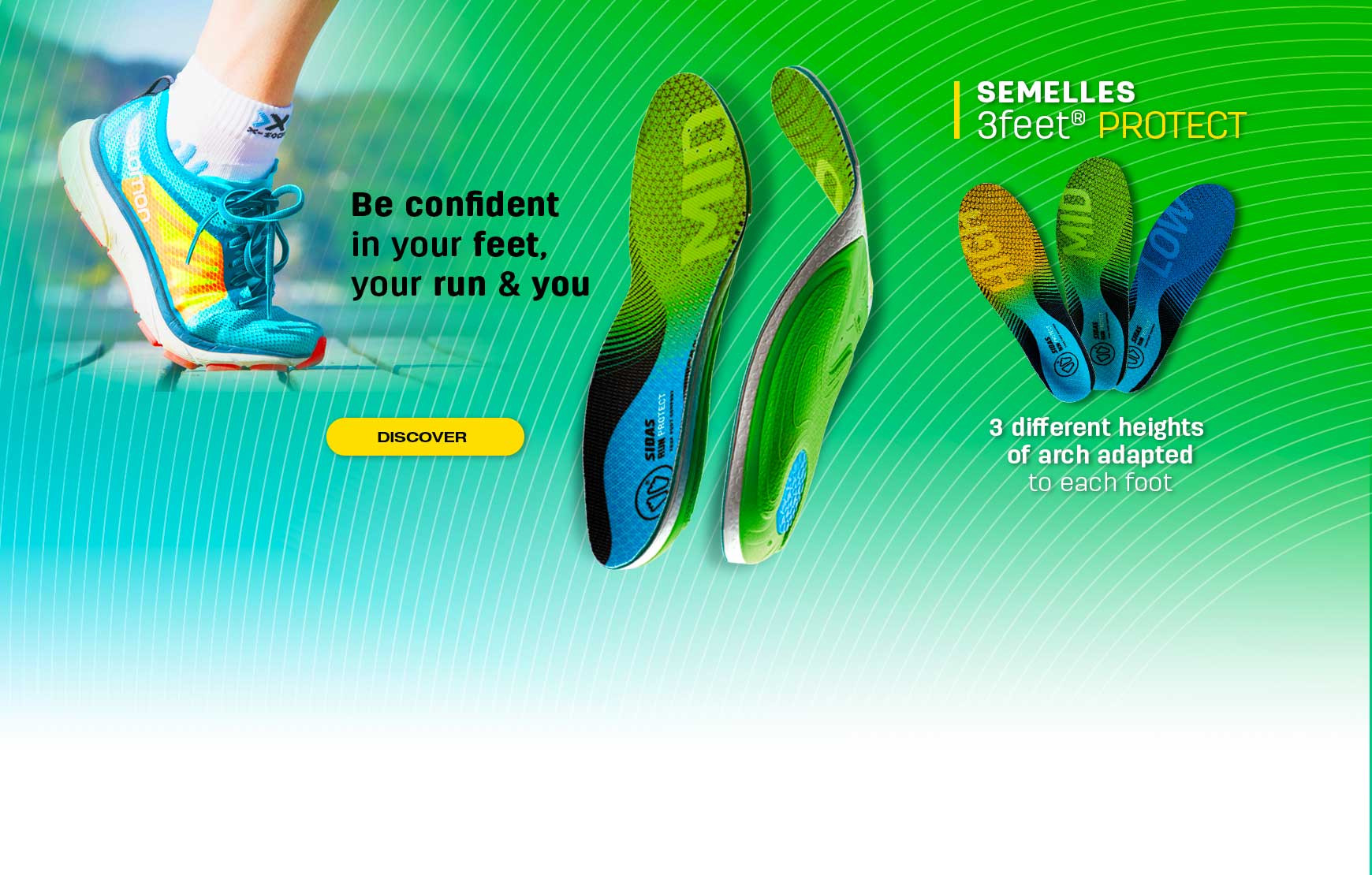 Discover our new range of Protect running insoles adapted to your type of foot