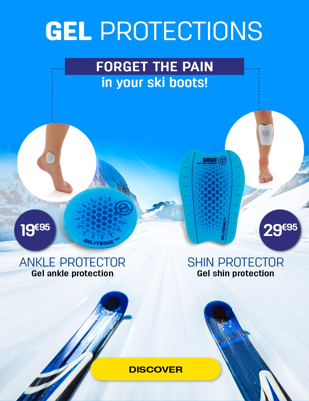Forget your pains into your ski boots thanks to our gel protections