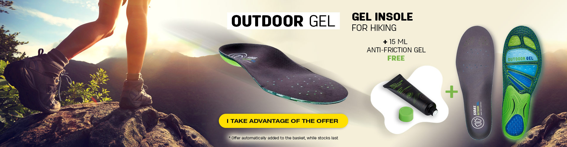 Discover our Outdoor Gel insoles for hiking! Get your free anti-friction cream 15ml when you buy a pair of Gel insoles