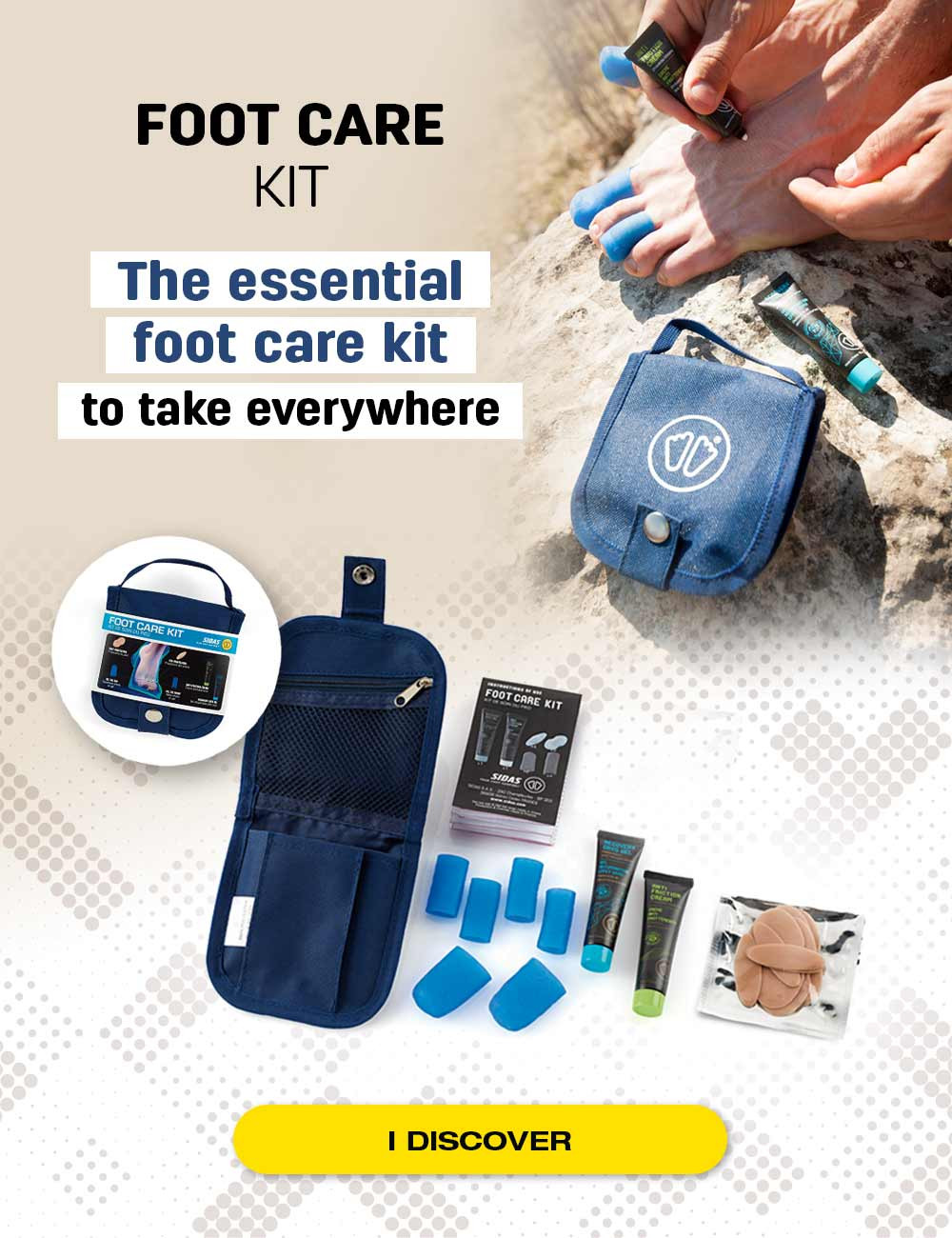 The essential footcare kit : bring it everywhere with you to protect your feet in your sports activities