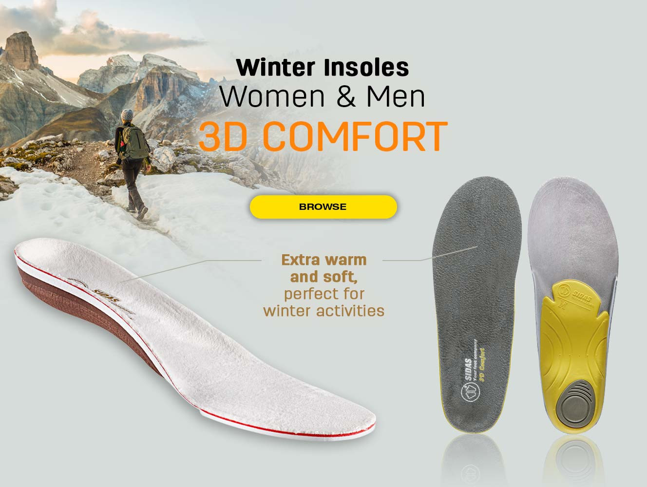 Extra warm and soft insoles, perfect for winter activities